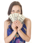 Portrait of pretty young woman with money, isolated on white background — Stock Photo