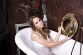 Beautiful woman in bathroom — Stock Photo