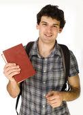 年轻快乐的学生背着书包和书 — 图库照片