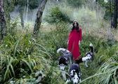 Donna in abito rosso con albero lupi nella foresta — Foto Stock