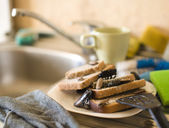 Bread on dish infested with roaches and mold — Stock Photo