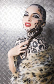 Portrait of beautiful young european model in cat make-up and bodyart — Foto de Stock