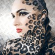 Portrait of beautiful young european model in cat make-up and bodyart — Stock Photo #37423549