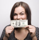 Portrait of beauty woman bringing money — Stockfoto