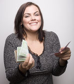 Portrait of beauty woman bringing money — Stock Photo