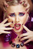 Beauty woman with creative make up, many fingers on face — Stock Photo