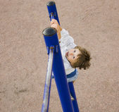 Little cute boy on playground outside — Stock Photo
