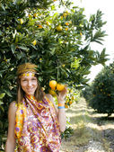 Pretty Islam woman in orange grove smiling — Zdjęcie stockowe