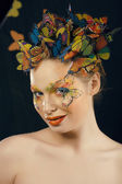 Creative make up like butterfly — Stock Photo