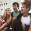 Cute group teenages at the building of university — Stock Photo #48139603