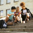 Cute group teenages at the building of university — Stock Photo #48139613