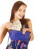 分離されたお金を現金でかなり若い女性 — ストック写真