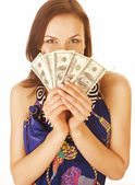 Pretty young woman with money cash isolated — Stock Photo