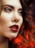 Beauty Woman with Perfect Makeup close up — Stock fotografie