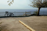 Bicycle on embankment at sea, garden with nobody — Stock Photo