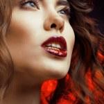 Beauty Woman with Perfect Makeup Beautiful Professional Holiday Make-up — Stock Photo #50343341