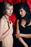 Брюнетка и блондинка женщина вместе, конфликт типов — Стоковое фото