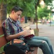 Boy reading book — Stok video