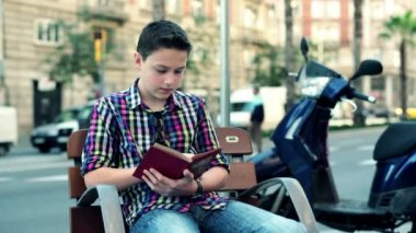 Boy reading book on bench — Stock Video