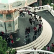 Spinning carousel in Tibidabo park — Stock Video