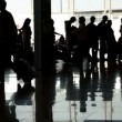 Silhouette of people at airport — Stock Video