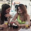 Girlfriends with smartphone — Stock Video
