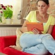 Woman with tablet computer — Stock Video