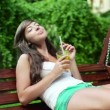Woman drinking fresh lemonade — Stock Video