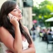 Woman talking on mobile phone — Stock Video #37034999