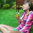 Woman drinking fresh lemonade — Stock Video #37035039