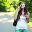 Woman talking on mobile phone in the park — Stock Video