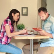 Couple doing online shopping on tablet — Stock Video #38490329