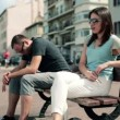 Couple sitting on bench — Stock Video #38498587