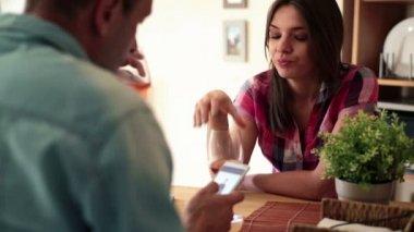 Bored woman drinking wine — Stock Video