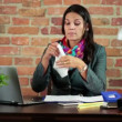 Sick businesswoman blowing nose — Stock Video