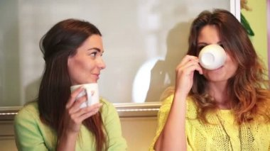 Young happy girlfriends in kitchen — Stock Video