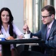 Businessman and businesswoman during coffee break — Stock Video