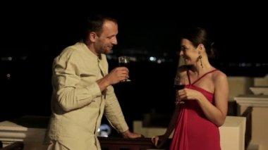 Couple raising toast with wine — Stock Video