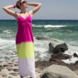 Woman relaxing on rocks by the sea — Stock Video #40592733