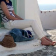 Pensive woman relaxing in Santorini — Stock Video