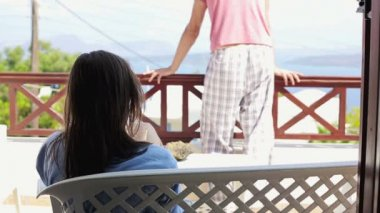 Relationship problems, couple on terrace — Vídeo de stock