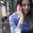 Businesswoman talking on cellphone — Stock Video