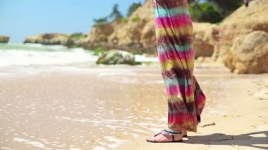 Woman standing on beach — Stock Video