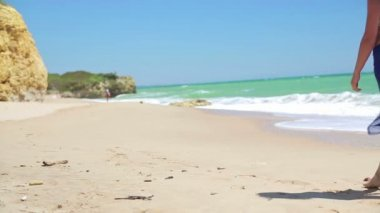 Sexy woman walking on beach — Stock Video