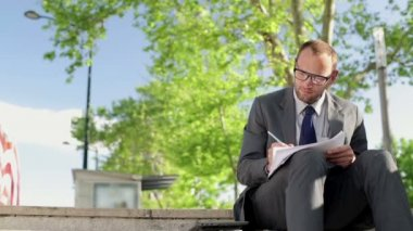 Businessman working with documents — Stock Video