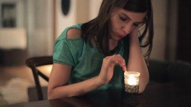 Sad woman at home — Stock Video