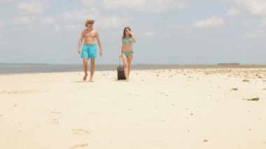 Couple with valise walking on beach — Stock Video