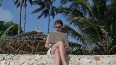 Woman working on laptop on beach — Stock video