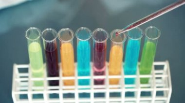Test tubes in laboratory — Stock Video