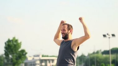 Successful male jogger, happy after run — Vidéo